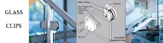 Glass Panel Clips, Glass Holder Clips - Stainless Steel, Metal