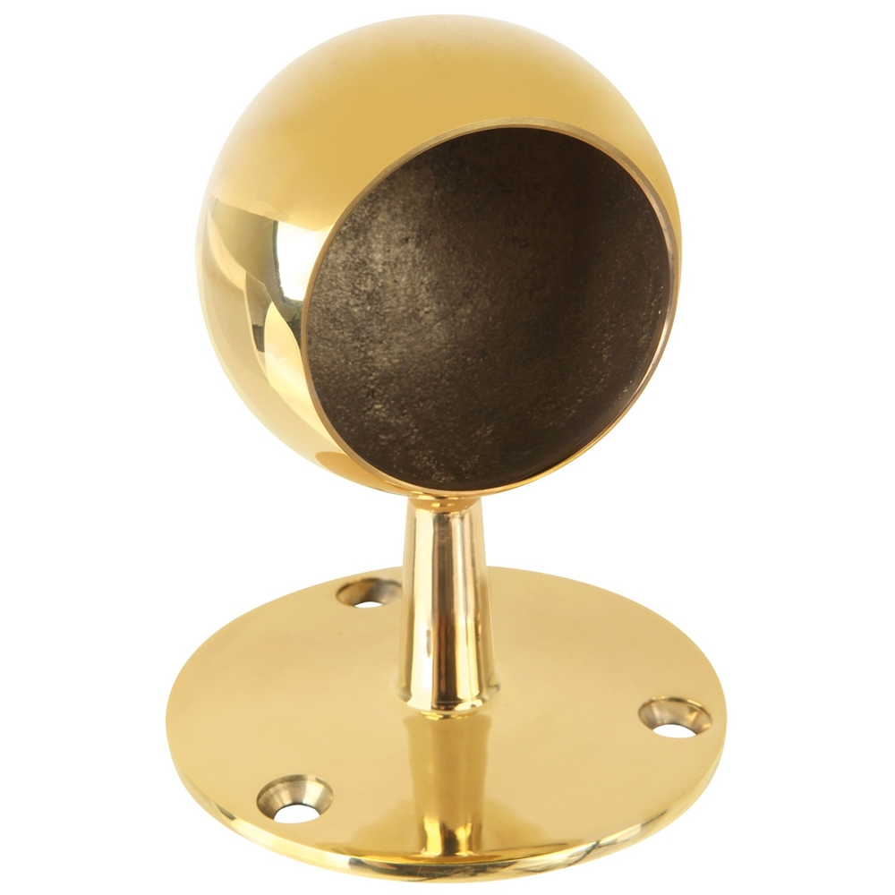 Polished brass ball end post quot od  h