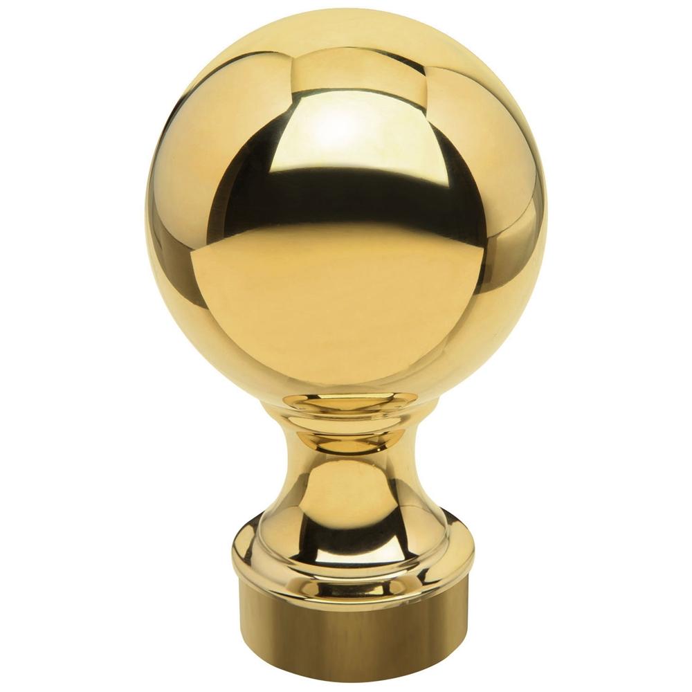 """Polished Brass Ball Finial 2"""" OD"""