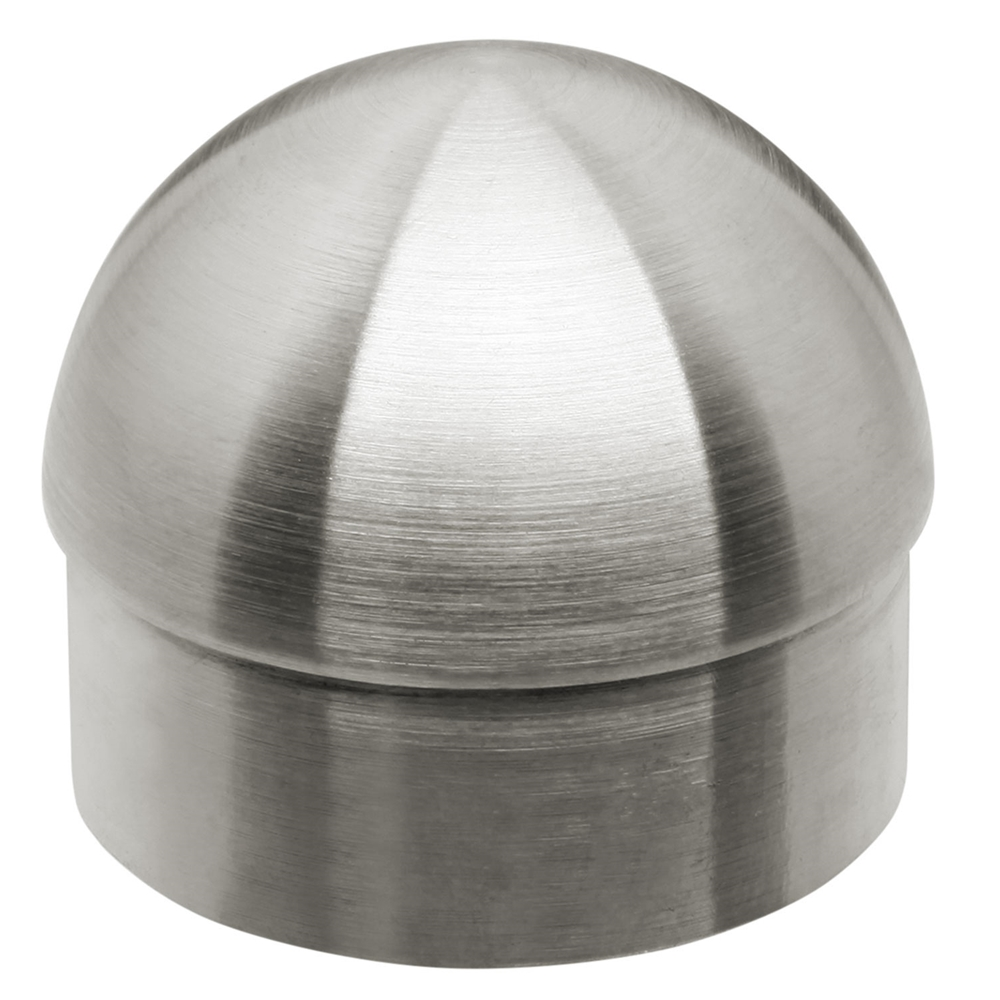 Satin brushed stainless steel half ball end cap quot od