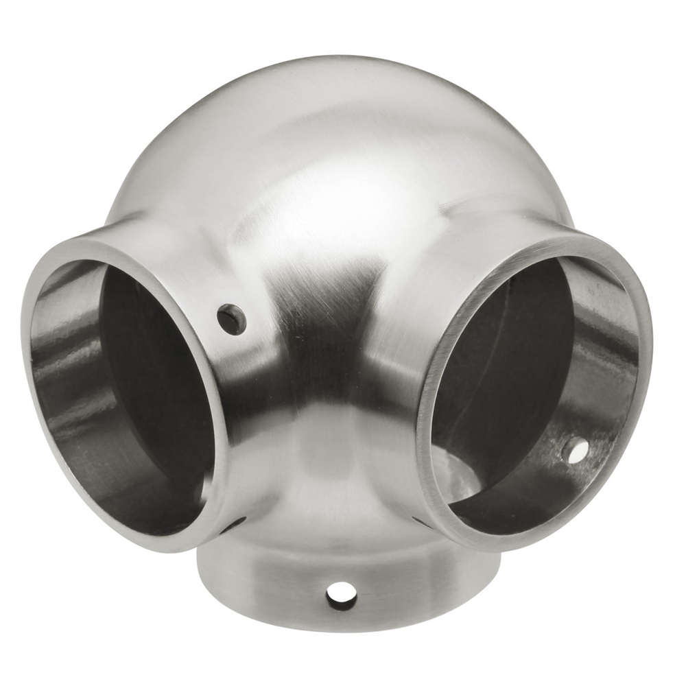 Satin brushed stainless steel ball side outlet ell