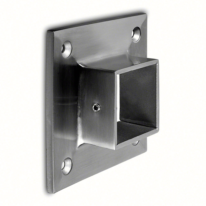 Square Line Wall Flange In Satin Stainless Steel 316 For