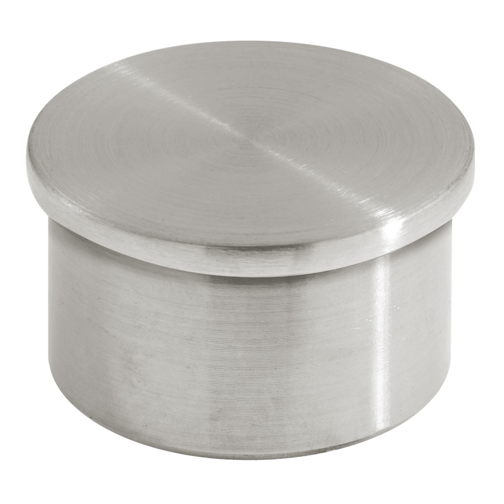 Satin brushed stainless steel flush end cap