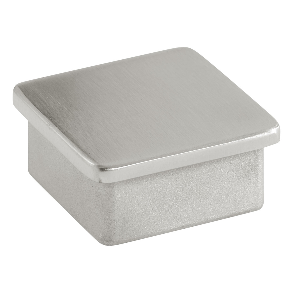 Flush end cap for square tube in satin stainless steel