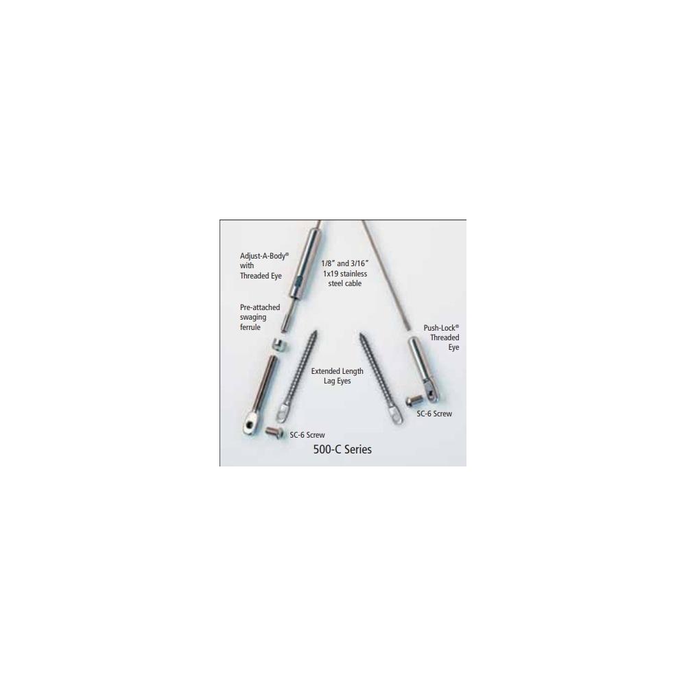 "1/8"" Adjust-a-Body W/EXT Length Hanger Bolt To Push-Lock"