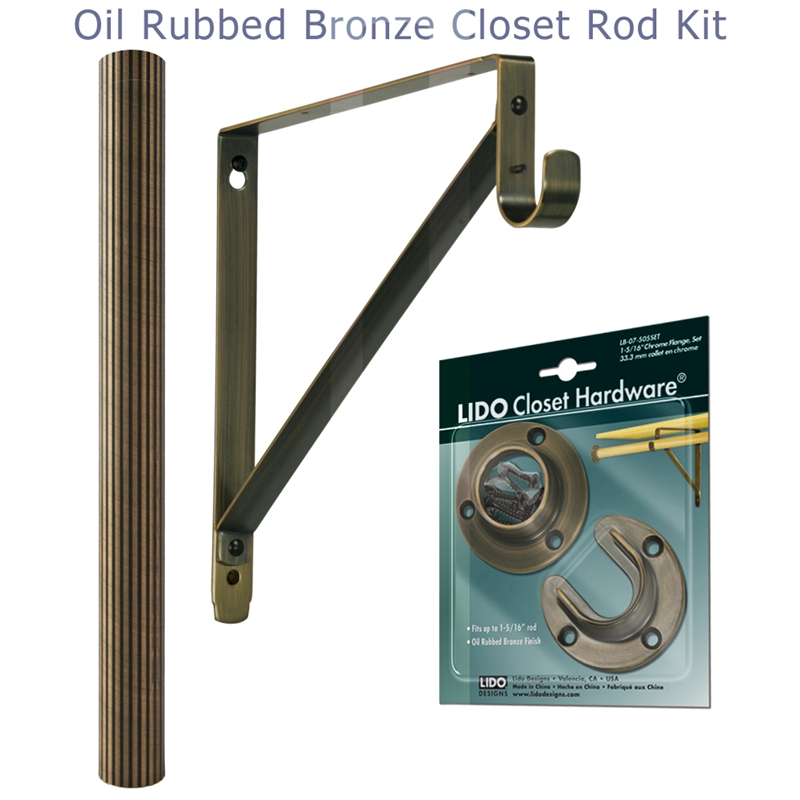 LB CK07 A106 Copper Oil Rubbed Bronze Reeded Closet Rod Kit