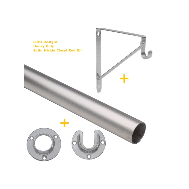 Beau LB CK44 A106 Brushed Stainless Steel Closet Rod Kit